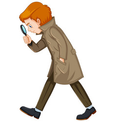 Detective man with magnifying glass vector