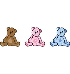 Three teddy bears vector