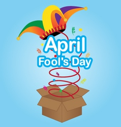 April fools day sign with jester hat vector