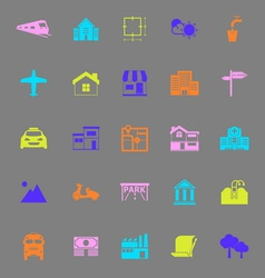 Real estate color icons on gray background vector
