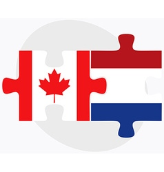 Canada and netherlands flags vector