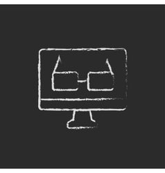 Screen monitor with glasses icon drawn in chalk vector