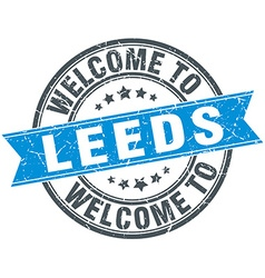 Welcome to leeds blue round vintage stamp vector