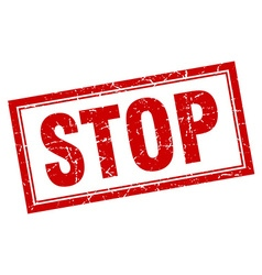Stop red square grunge stamp on white vector