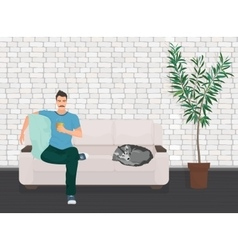 Man with dog pet lying relaxing on the sofa couch vector