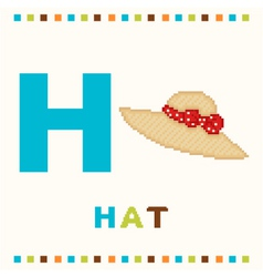 alphabet for children letter h and a hat isolated vector image vector image