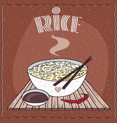 Asian rice dal bhat or nasi kandar in bowl vector