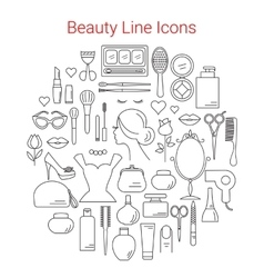 Beauty Cosmetic and Makeup Line Icons Set vector image vector image