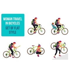 Bicycle travel Woman traveling by bike vector image vector image