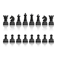 Black chess icons set chess board figures vector