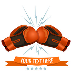 Boxing gloves hitting one another logotype design vector