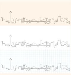 Busan hand drawn skyline vector
