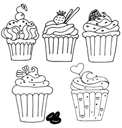 Cake cupcake drawn in outline isolated on white vector