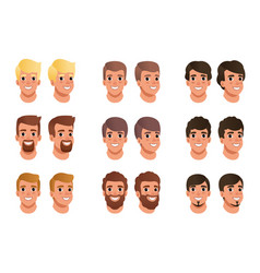 cartoon set of men avatars with different hair vector image vector image