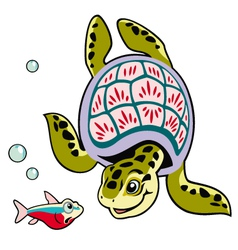 cartoon turtle and fish vector image vector image