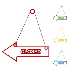 Closed sign set of line icons vector
