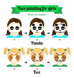 face painting for girls 2 vector image vector image