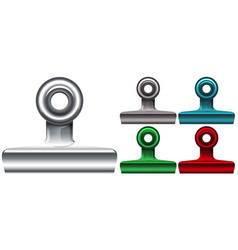 five different color paper clips on white vector image