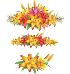 Garlands of yellow lilies vector