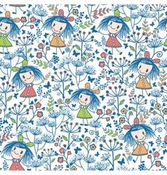 Girls in the flower garden seamless pattern vector image