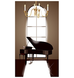 Grand piano room vector