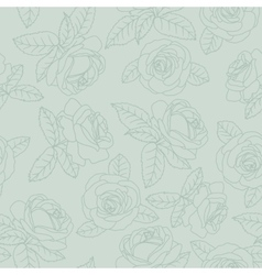 Green outline roses vector