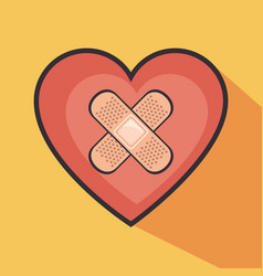 heart with cross band aid vector image