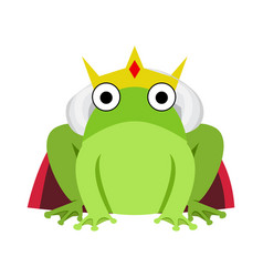 king frog with red cape and crown vector image