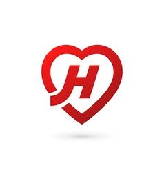 Letter h heart logo icon design template elements vector