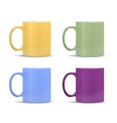 mugs of different colors vector image