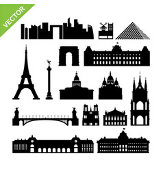 Paris france landmark silhouettes vector