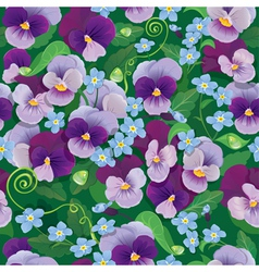 Seamless pattern with beautiful flowers - pansy vector image