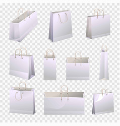 shopping paper bags 3d models with rope handles vector image vector image