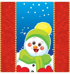 Snowman on background with patterns vector image vector image