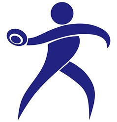 Sport icon for throwing discus in blue vector