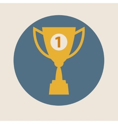 Trophy cup icon flat design Concept-winning vector image