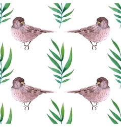 Watercolor seamless pattern with birds vector