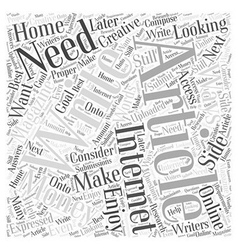 Writing Articles for Money What You Need Word vector image