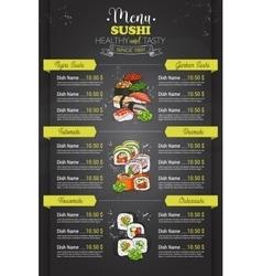 Restaurant vertical color sushi menu vector