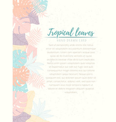 Hand drawn tropical palm leaves card vector