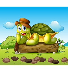 A smiling turtle above the trunk vector image