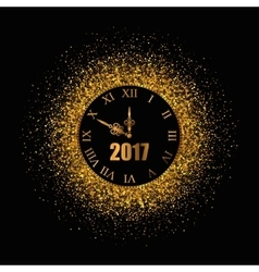 2017 new year gold background with clock vector