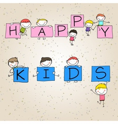 Hand drawing cartoon character happy kids vector