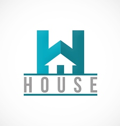 H house sign realty logo vector image
