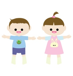 Little boy and little girl vector