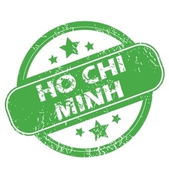Ho chi minh green stamp vector