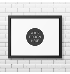 Realistic black frame a4 on the brick wall vector