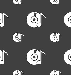 Cd or dvd icon sign seamless pattern on a gray vector