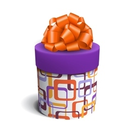 Colorful violet and orange celebration gift box vector