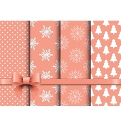 Set christmas seamless backgrounds vector